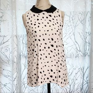 Wildfox white black polka dot collared tank top